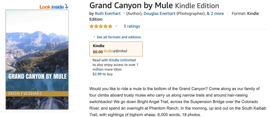 Republished my eBook: Grand Canyon by Mule