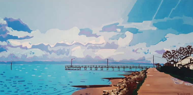 The Pier At Crescent IV. Acrylic. 18x36