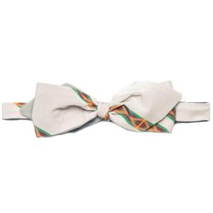 tied light grey silk bow tie with color stripe