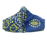 front view of Blue cotton mask with yellow tile accents