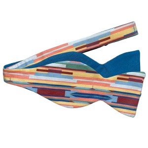 untied Multi color stripe bow tie with blue on reverse side