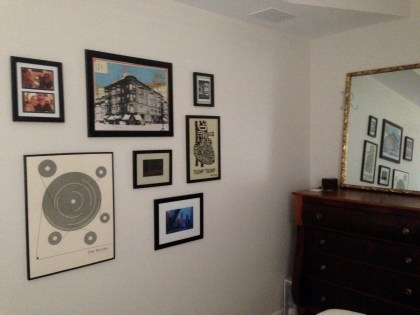 Collage wall in our bedroom.