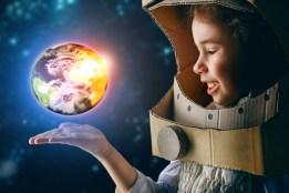 Girl Astronaut Imagining - Use for Header