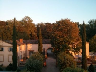 Coach house from my attic bedroom at sunset