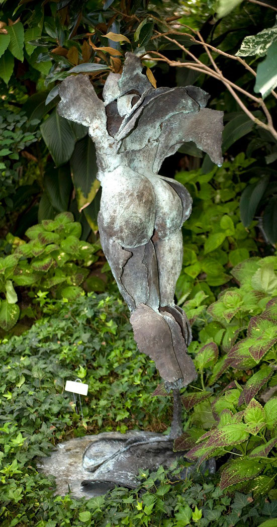 """52 BLUE FLYING VENUS (view one) - Bronze 1996 - Cast, assembled, patinated blue green - 53"""" x 17"""" x 21"""""""