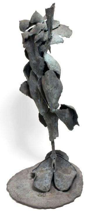 "BLUE FLYING VENUS (view one) - Bronze 1996 - Cast, assembled, patinated blue green - 53"" x 17"" x 21""; Artist Studio"