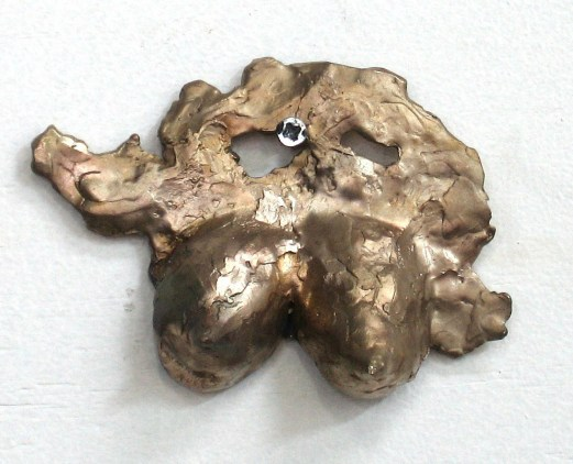 BREAST PAPER WEIGHT - Bronze wire brushed
