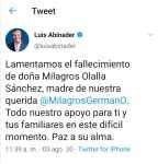 Luis Abinader se solidariza con Milagros Germán por muerte de su madre