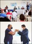 Coordinador del Gabinete de la Familia, Pastor Dío Astacio, Junto al Alcalde José Andújar entregan bonos