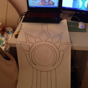 Drafting Leona's shield on long paper