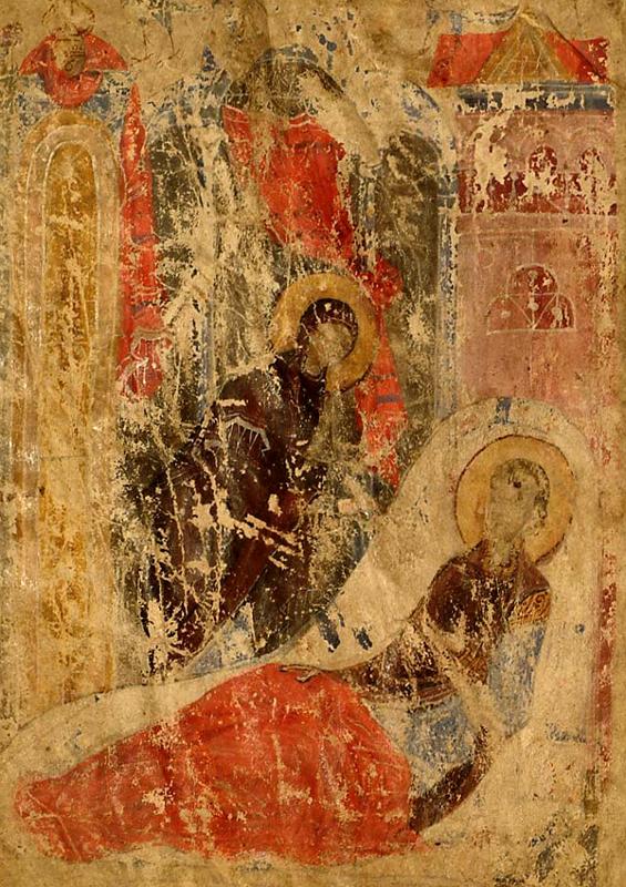 Миниатюра Троицкого кондакаря. Начало XIII в. (Российская государственная библиотека)