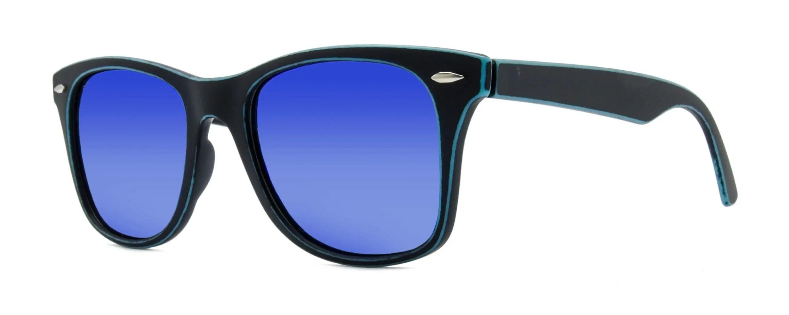 Jude - Matte Black - Blue Polarized Mirror Lenses - Angle