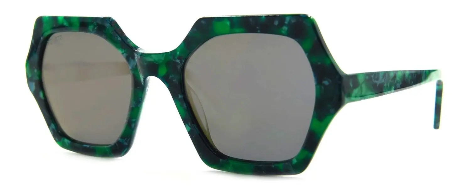 Sheerah - Jade Green - Polarized Brown Gold Mirror Lenses - Angle