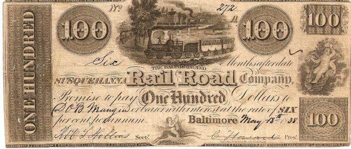 bond for construction of Baltimore & Susquehanna RR