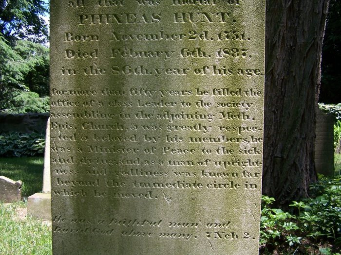 Headstone for Phineas Hunt 1751-1837
