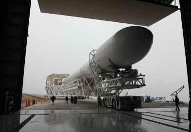 transportation of assembled rocket into hangar