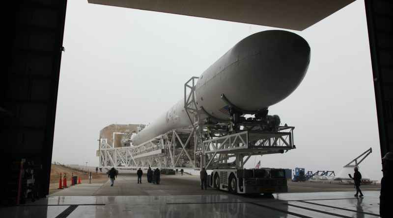 transportation of assembled rocket into hangar