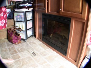 RV Fireplace Before Changing Element