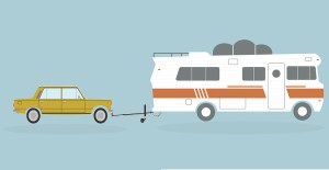 Trailer illustration for article on RV towing options