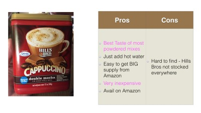 Hills Brothers Double Mocha Cappuccino Powdered Flavor Pros Cons
