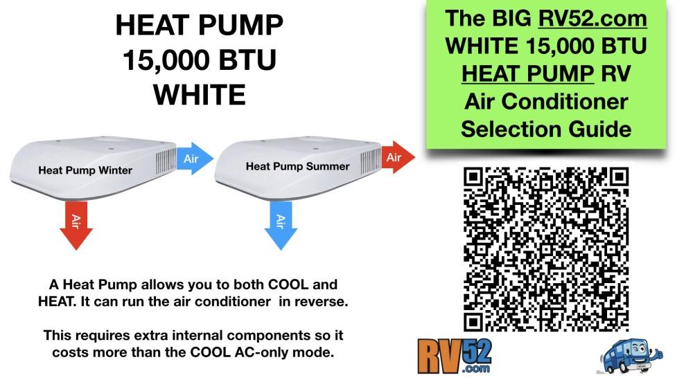 medium resolution of  white 15000 btu heat pump rv air conditioner selection guide on dometic analog thermostat wiring