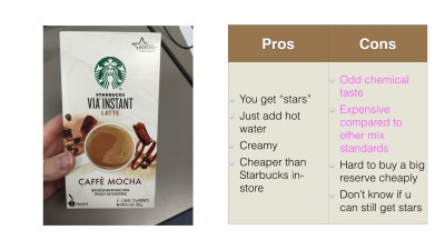 pros and cons of starbucks powdered mocha mix