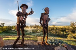 A sculpture in honour of Edward John Eyre explorer. Kimba SA