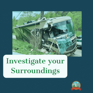 RV Newbie mistake be sure to investigate your surroundings when pulling over your rv