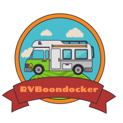 RV Boondocker logo with an RV camping on a hill. A website for free boondocking near me and RV camping information and articles
