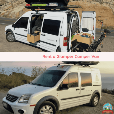 Camping van for glamping comes with top rack and bed