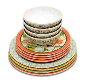 set of 12 dishes perfect for camping, includes bowls and large and small plates great for RV life.
