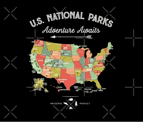 National park blanket in black with usa map
