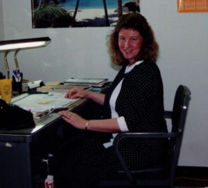 Captain Linda A. at her desk in the remote viewing program in the early 1990s
