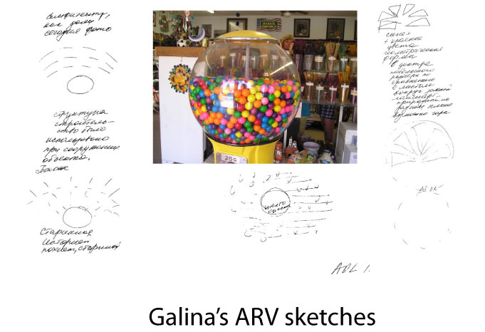 Galina's ARV sketches compared to the actual target