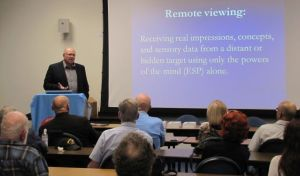 Paul H. Smith presenting on the intelligence uses of remote viewing to the LA Chapter of the Association of Former Intelligence Officers