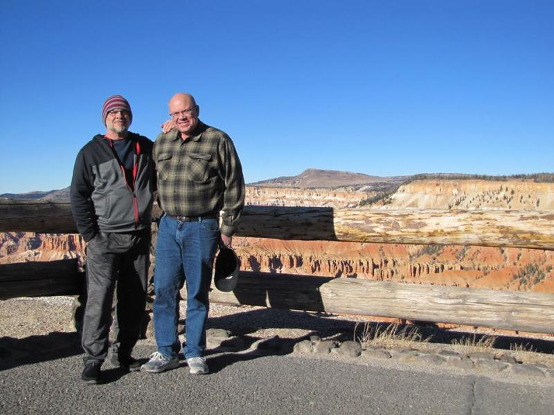 Paul H. Smith with Russell Pickering during the aesthetic impact field trip, part of the RVIS, Inc. Basic Controlled Remote Viewing Course