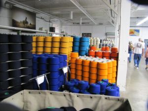 Lots of colorful yarn and wool fabric inside the Pendleton Woolen Mills