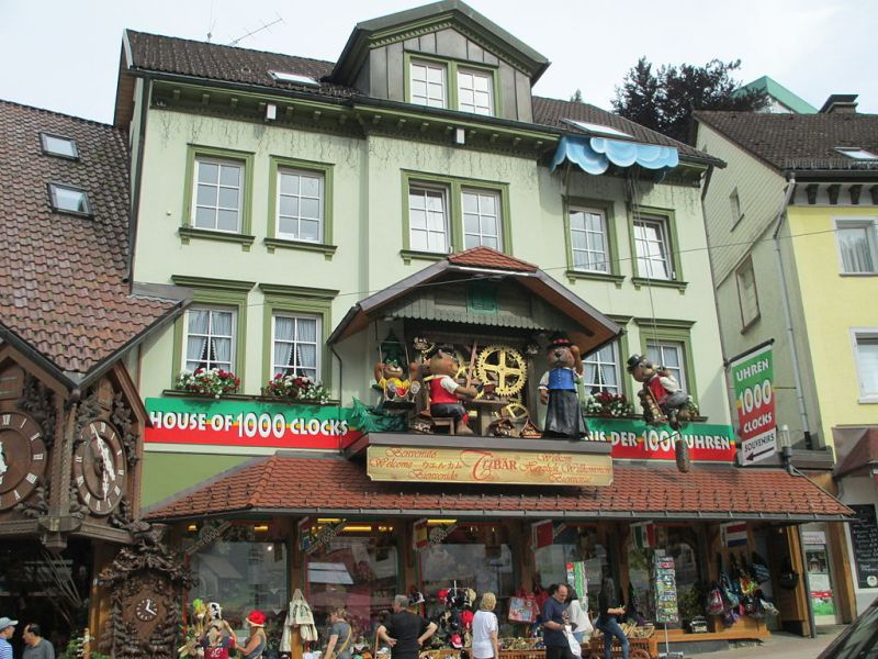 "Target 492 is the Haus der 1,000 Uhren (""House of the 1,000 Clocks"") in Triberg, Germany"