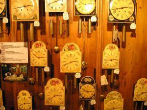 Clocks on display inside the Haus der 1,000 Uhren