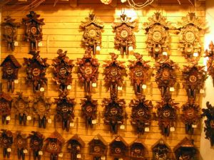 Cuckoo clocks for sale on display inside the Haus der 1,000 Uhren