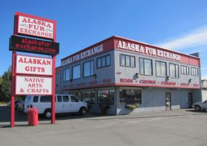 The exterior of the Alaska Fur Exchange