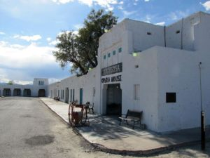 The Amargosa Opera House is connected to the associated hotel, forming a partial courtyard area on two sides