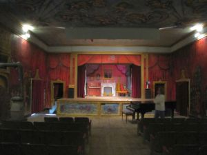 The stage in the Amargosa Opera House seen from the back of the auditorium area