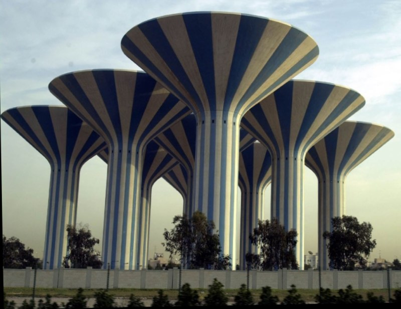 "Target 200414826 is the ""Mushroom"" Water Towers in the Adailiya Area of Kuwait City, Kuwait"
