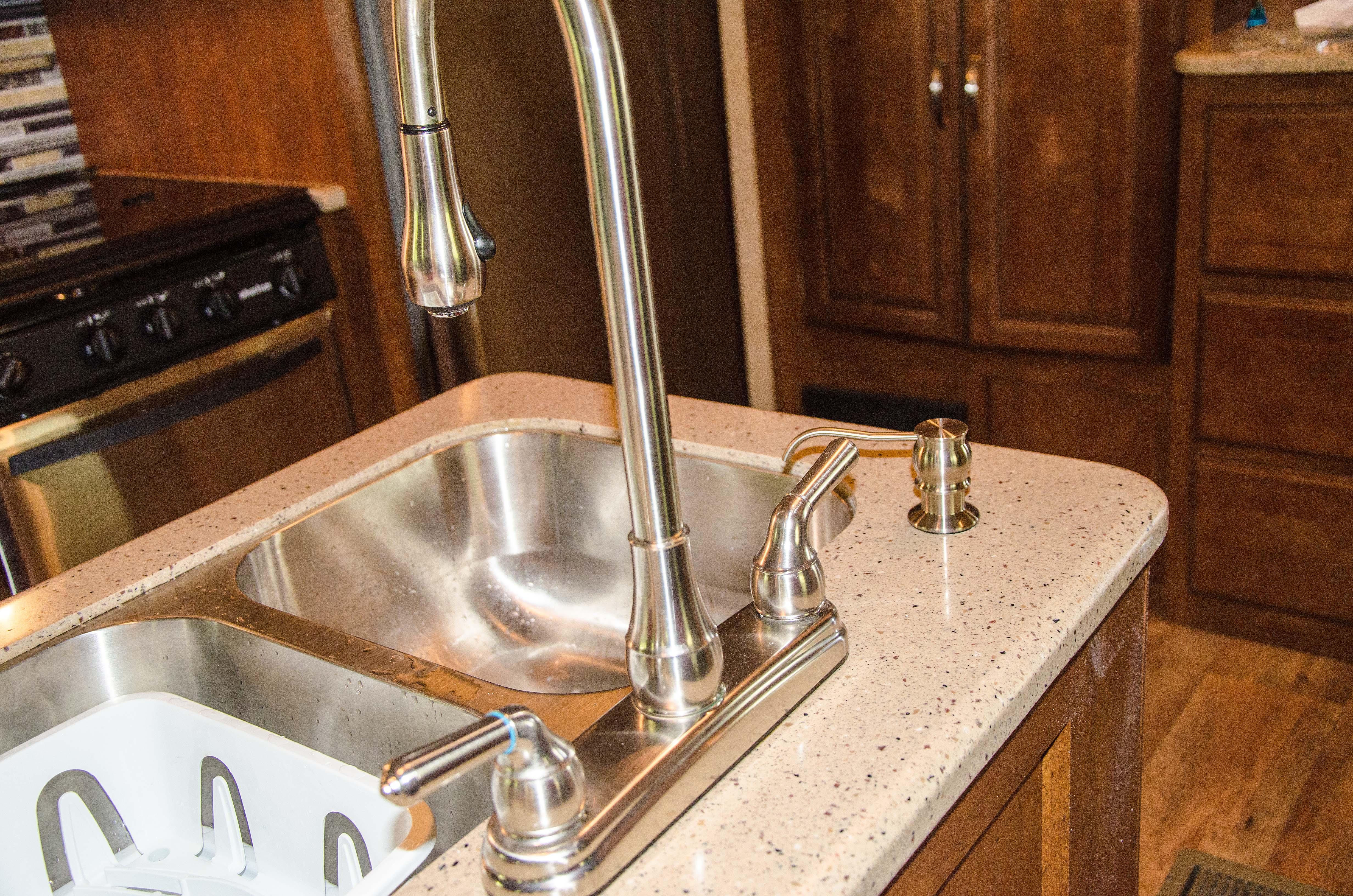 Rv soap dispenser installed at the kitchen sink