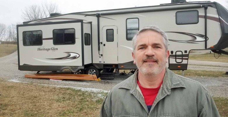 Brad Saum winter RV camping with his fifth wheel travel trailer.
