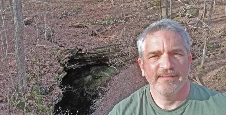 Brad Saum at Sand Cave entrance near Mammoth Cave in south-central Kentucky.
