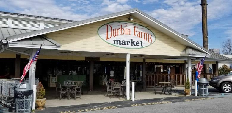 Durbin Farms Market in Clanton, Alabama is partially an open air market and partially an indoor restaurant.
