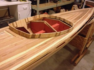 cedar strips form kayak cockpit