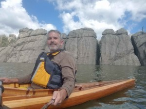 Brad Saum paddling Sylvan Lake in Custer State Park, South Dakota.